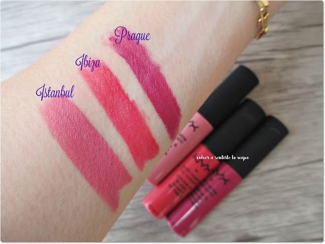 Soft Matte Lip Cream de Nyx - Swatches Prague, Ibiza, Istanbul