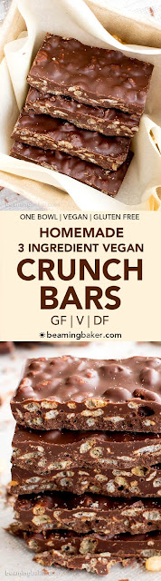 3 Ingredient Homemade Crunch Bars (Gluten Free, Vegan, Dairy-Free, One Bowl)