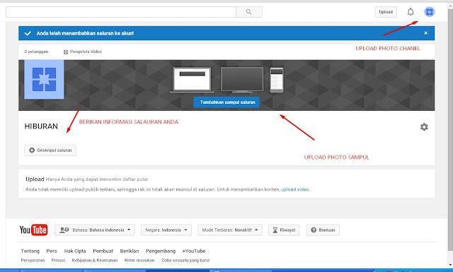 Cara menambah Chanel youtube dalam satu email