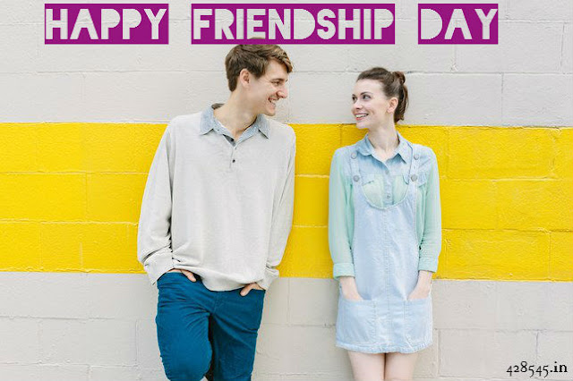 Yellow wall write happy friendship day 2018 with two friends