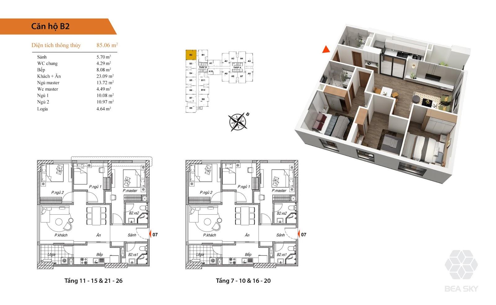 Thiết kế căn B2 chung cư Bea Sky Nguyễn xiển