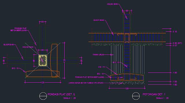 Contoh Gambar AutoCAD Detail Pondasi Platt Beton Bertulang