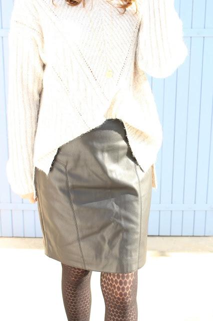 jupe en simili cuir noir camaieu