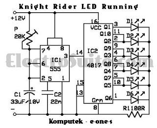 Skema Rangkaian Running Led model Knight Rider
