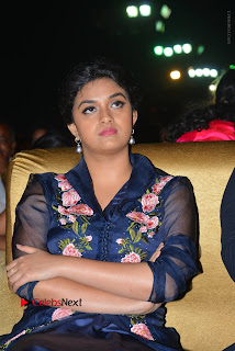 Actress Keerthi Suresh Stills in Blue Long Dress at Nenu Local Audio Launch  0036.JPG