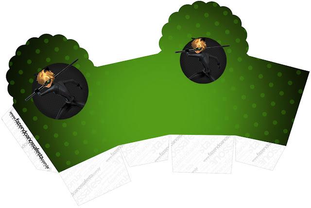 Caja para cupcakes, chocolates o golosinas de Cat Noir.
