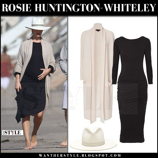 Rosie Huntington-Whiteley in beige cardigan and black dress with straw hat what she wore may 2017 maternity style