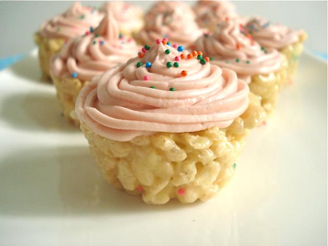 Cake Batter Rice Krispie Cupcakes