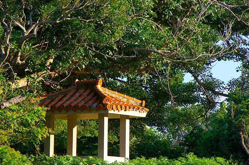 orange-tiled structure, roof, park