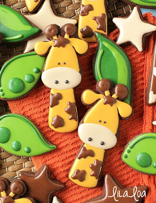 Giraffe and jungle sugar cookies
