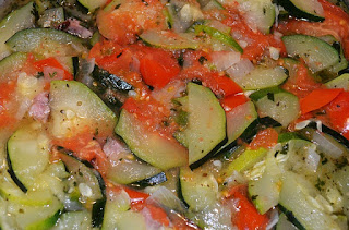 Fried Zucchini with Tomatoes and Onions