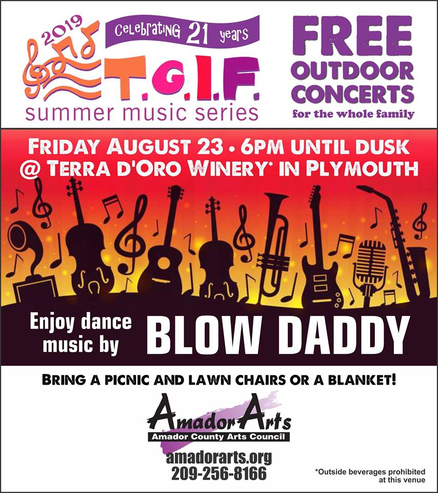 AmadorArts: Last TGIF concert features Blow Daddy - Fri Aug 23