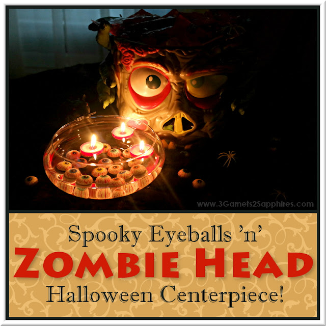 How to make a spooky Eyeballs & Zombie Head Halloween Centerpiece  |  3 Garnets & 2 Sapphires