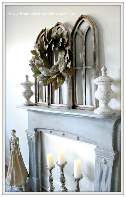 Vintage Fireplace Mantel Makeover-Magnolia Home Chalk Style Paint-French Farmhouse-From My Front Porch To Yours