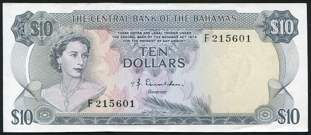 Bahamas currency banknotes 10 Bahamian Dollar, Queen Elizabeth