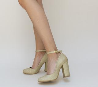 pantofi eleganti aurii de ocazie cu toc gros