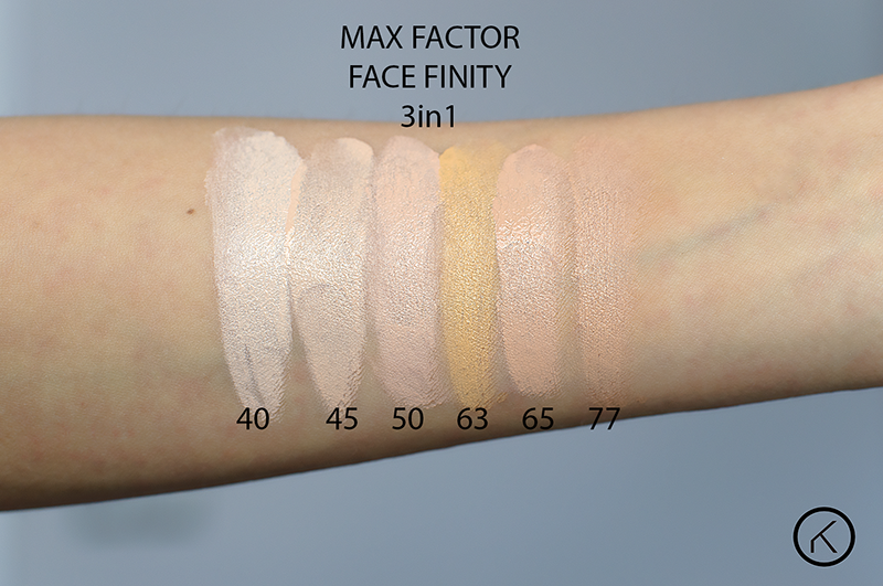 Max Factor Face Finity 3in1 40 light ivory 45 warm almond 50nautral 63 sun beige 65 rose beige 77 soft honey