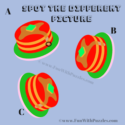 Answer of Odd One Out Pancakes Puzzle for Kids