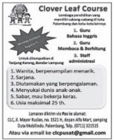 Kesempatan Kerja Lampung Terbaru April 2017 Dari Clover Leaf Course Cabang Bandar Lampung