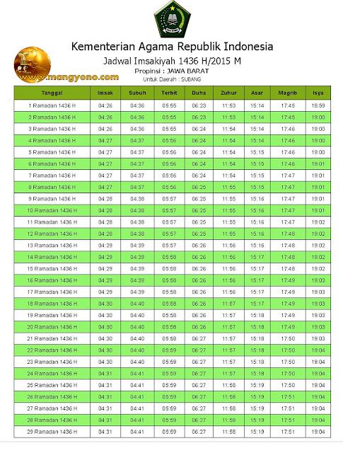 Jadwal Imsakiyah Subang 2015 / 1436 h 18 Juni s/d 17 Juli 2015