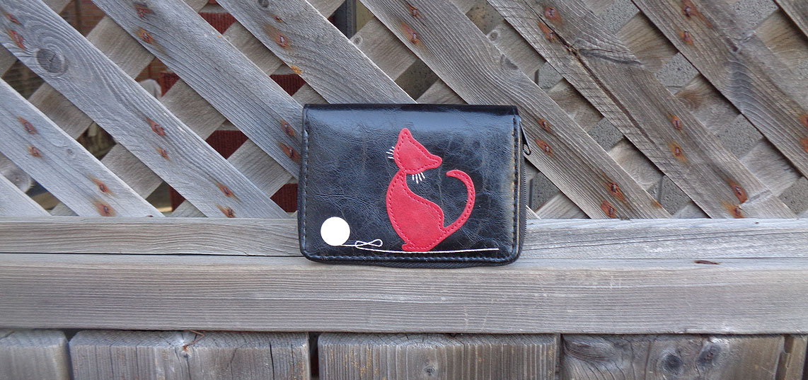 LAVISHY vegan leather cardholer from Adora collection features cat applique motif