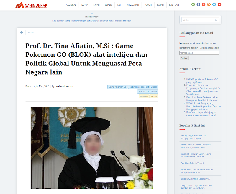 Dr. Tina Afiatin, M.Psi: Ancaman Serius dari Game Pokemon GO (BLOK)!