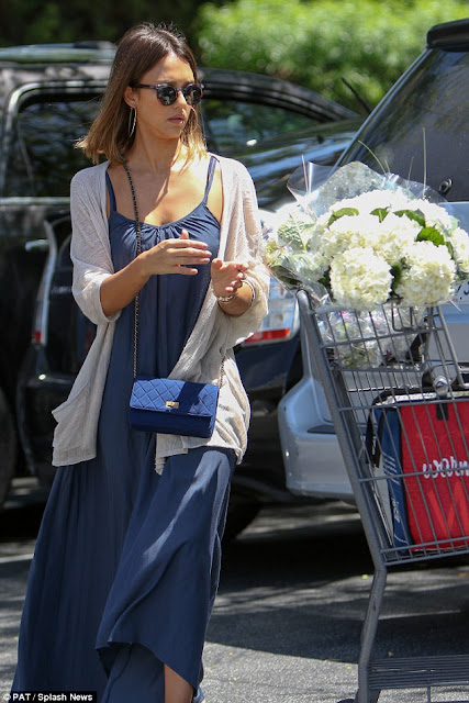 Jessica Alba wearing a blue or navy maxi dress with a gray cardigan, celebrity street style, outfit inspiration, what to wear for spring