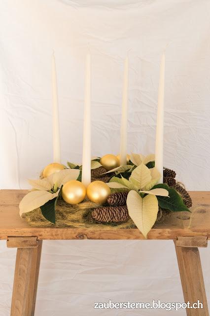 Adventskranz selber machen, Weihnachtsstern, Adventsdeko selber machen, Adventskranz basteln, Kreativblog Schweiz