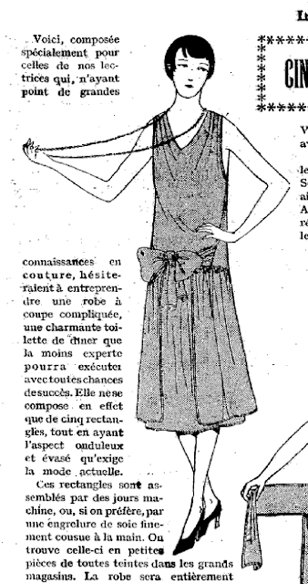 The Vintage Pattern Files: Free 1920's Sewing Pattern - 5 Rectangles = 1 Dress / Cinq Rectangles + Une Robe