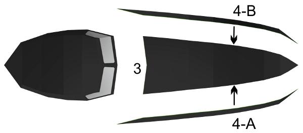 Step 2 in Batmobile paper model build instruction