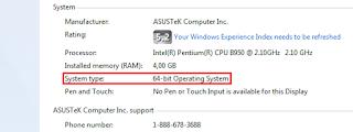 Cara Mudah Mengetahui 32 atau 64 bit Pada Windows