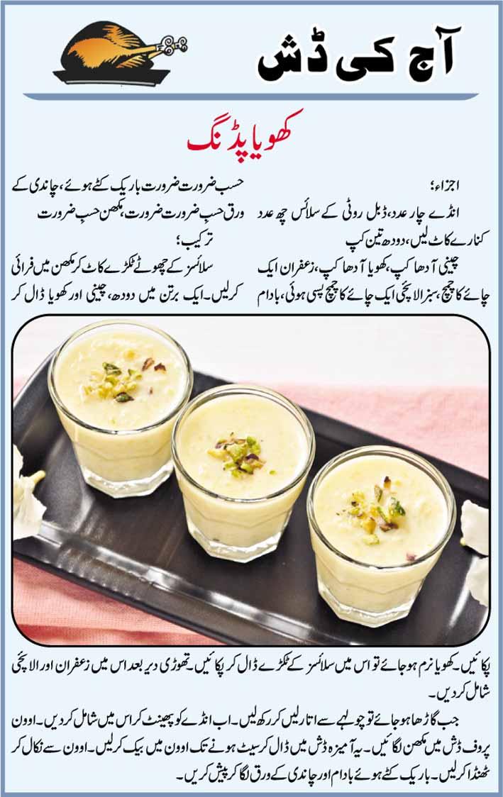 Daily Cooking Recipes In Urdu Khoya Pudding Recipe In Urdu