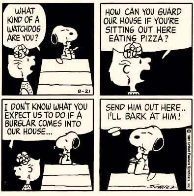 Snoopy eating pizza at night on his dog house. Sally what would you do if there was a burgler in the house? Snoopy send him out and I'll bark at him. Does sighing count as exercise?