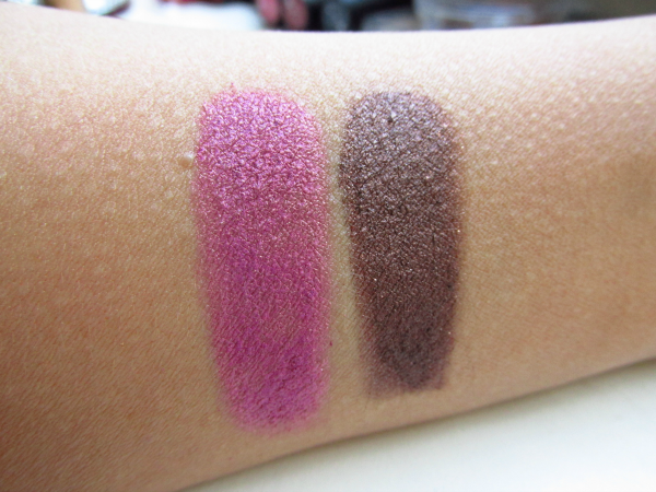 essence metal glam eyeshadows 19 Sparkling Orchids 18 Choco Chic swatches