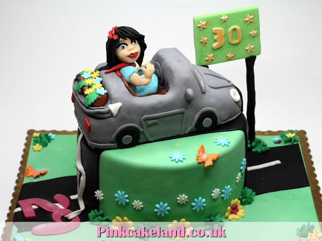 Birthday cake for woman - girl in car