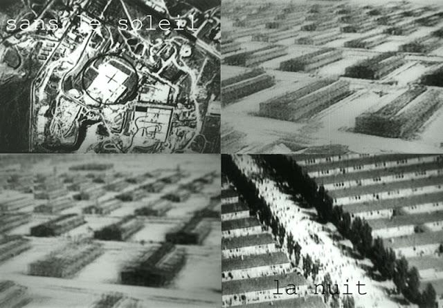 4 photographies des camps d'extermination nazi et rebrodées
