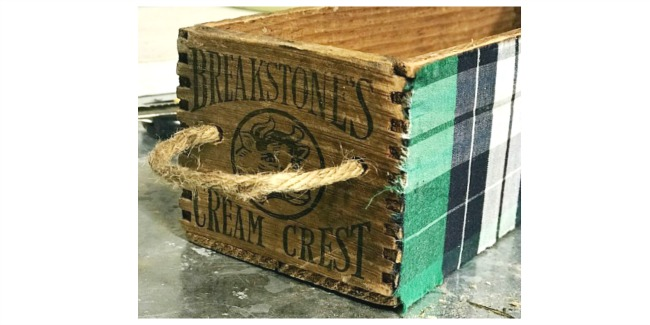 green plaid crate with handle