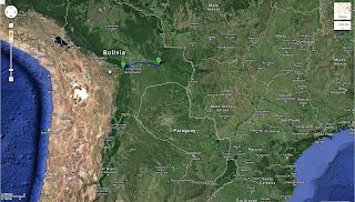 Trajeto de San José de Chiquitos/Bolívia a Samaipata/Bolívia - 395 km.