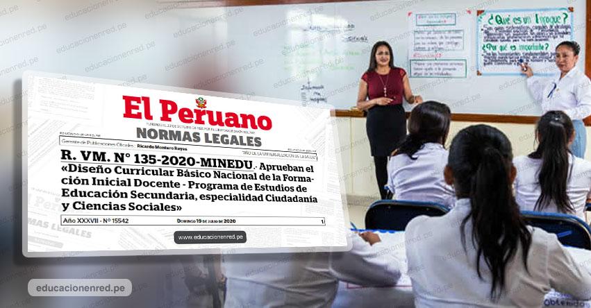 MINEDU aprueba diseño curricular para especialidad de secundaria de institutos pedagógicos (R. VM. N° 135-2020-MINEDU)