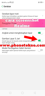 Cara screenshot Realme 2