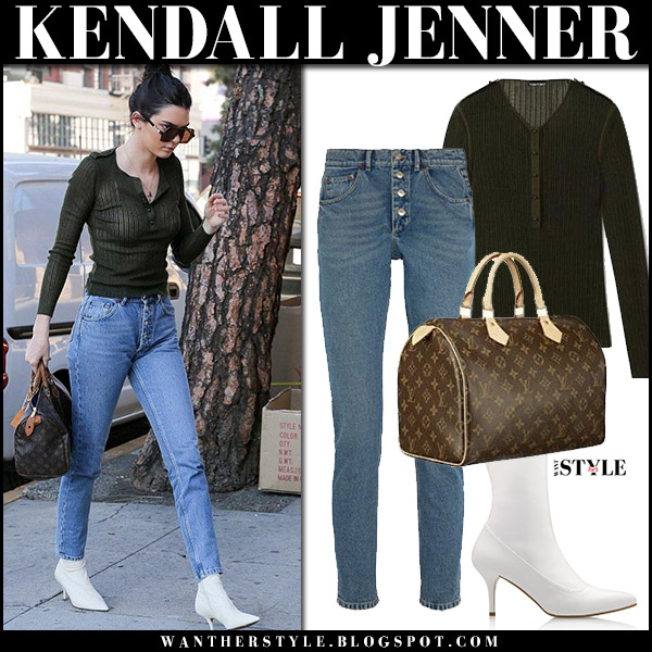 Kendall Jenner in dark green top tom ford, jeans balenciaga, white boots stuart weitzman clingy with brown logo bag louis vuitton speedy street fashion december 6