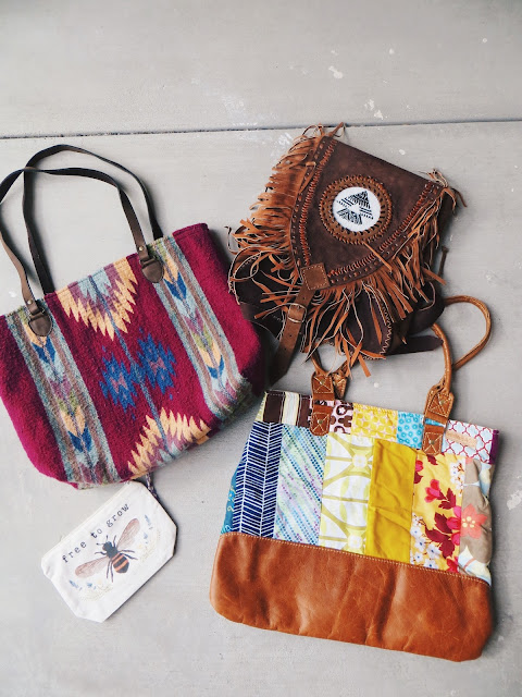 Manos Zapotecas Gloria tote, The Tote Project Free to Grow tote, Ixchel Triangle fringe backpack, Better Life Bags patchwork Nicole tote, sustainable handbags