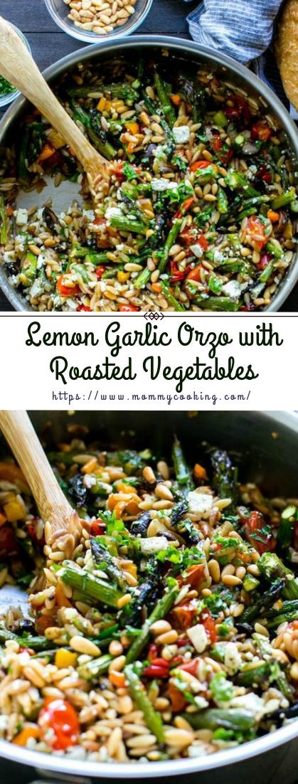 Lemon Garlic Orzo with Roasted Vegetables #vegan #recipe