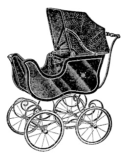 baby clip art stroller carriage vintage download