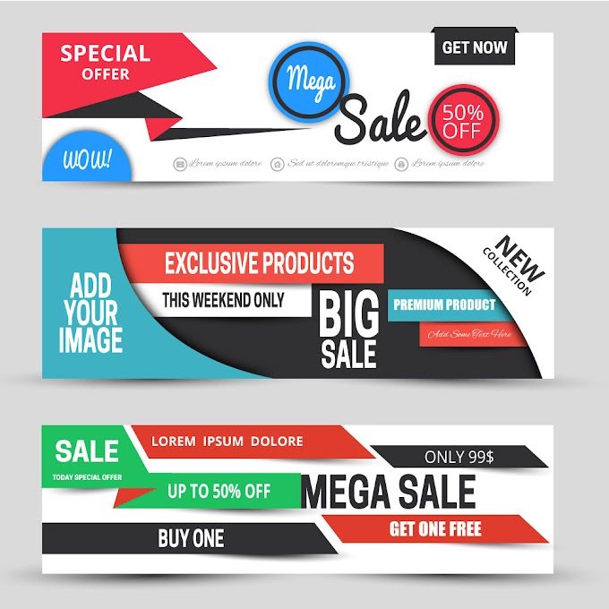 Horizontal sale banners sets with modern style design Free vector