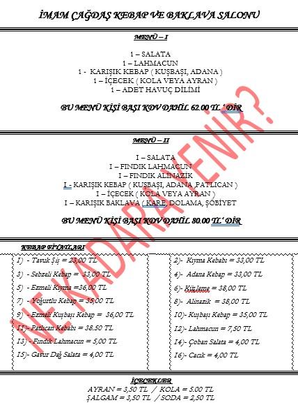 imam çağdaş gaziantep menü fiyat listesi
