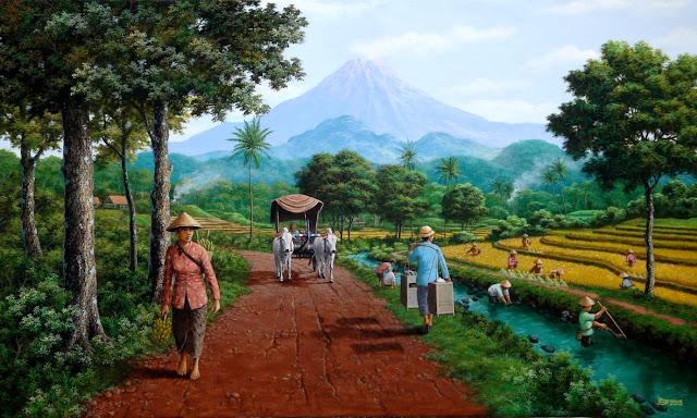 Hasil gambar untuk lukisan alam jawa