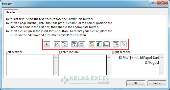 Menambahkan Custom Header dan Footer Dari Page Setup