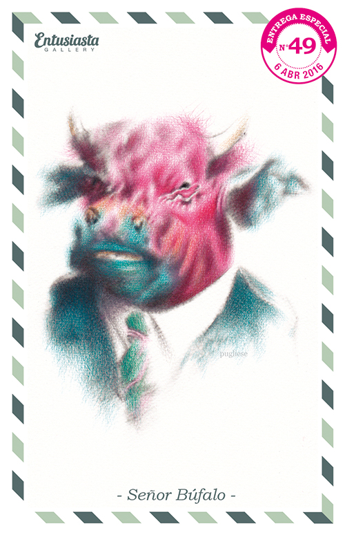 Dibujo realizado por David Pugliese de un búfalo con traje