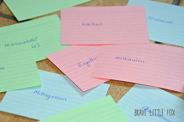 Tagesplan mit Karteikarten